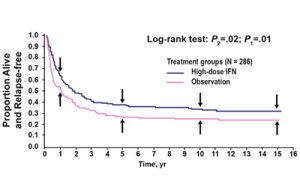 This chart creates an image depicting the benefit of high dose Interferon Therapy on relapse free survival.