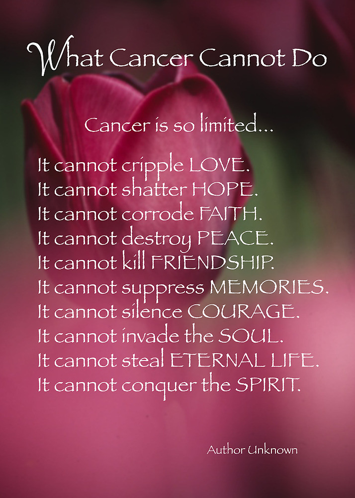 what cancer cannot do These powerful words by an unknown author hang in the hallway at the clinic where bryson p was treated for acute lymphoblastic leukemia (all)his mother, myra, read them aloud every time they went in for treatment.